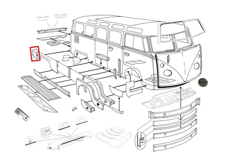 vw volkswagen bus bulli bully t1 t2a rep bleche. Black Bedroom Furniture Sets. Home Design Ideas