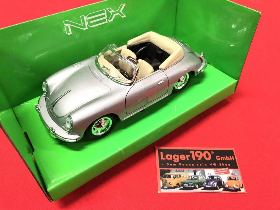 Modellauto Porsche 356B Welly Maßstab 1:24, 18cm lang (-007)