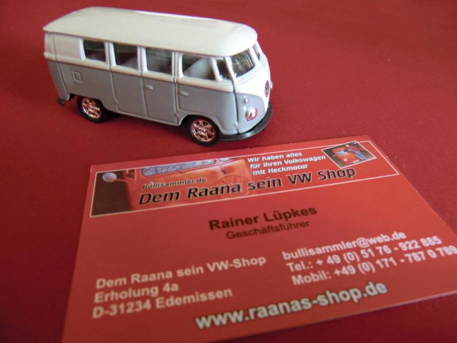 Welly VW Bus T1 grau-weiß ca. 7cm mit Rückzugmotor