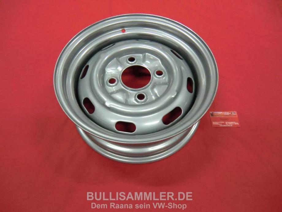 Stahlfelge 5.5x15 4x130 ET25 OHNE TÜV kompl. Satz Felge Käfer Karmann Ghia (45-398)