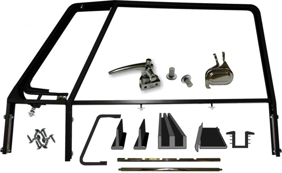 VW Bus T1 Türfensterrahmen Fensterrahmen Fahrer-/Beifahrertür schwarz grundiert inkl. Dichtungen und Anbaumaterial