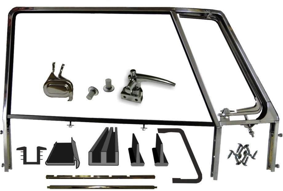 VW Bus T1 Türfensterrahmen Fensterrahmen Fahrer-/Beifahrertür poliert inkl. Dichtungen und Anbaumaterial