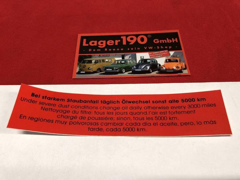 Aufkleber Luftfilter rot Staubanfall 5000km Typ1 VW Käfer, Bus T1, Karmann Ghia (6202)