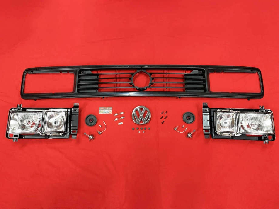 SET Scheinwerfer eckig + Kühlergrill mit Emblem VW Bus T3 79-92 (81-209)