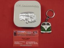 VW Bus T1 Schlüsselanhänger Grün Metall
