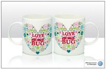 Becher VW Käfer Love Bug mit Herzmotiv aus Blümchen (-026)