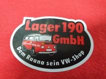 Aufkleber Lager190 GmbH, rund, 6x4cm (22-015) [max. 2 Stück]