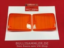 Bus T2 73- Paar Blinkergläser vorne orange ORIGINAL VW NOS