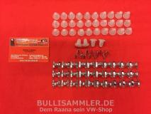 VW Käfer -66 Zierleisten Klammern Clips Gummihüte (0405-001/0406)