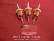 3 St. Benzin-, Kraftstofffilter Universal für VW Käfer, Bus T1, T2, T3