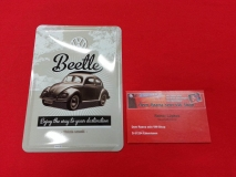 VW Käfer Beetle Think small Blechschild klein 15x20 cm (-003)