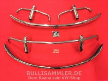 VW Käfer Edelstahlstoßstangen US Set vorne hinten, Bügel (93-008)