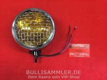 Zusatzleuchte Gelb mit Gitter, Chrom, für VW & Porsche (01-046)