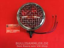 Zusatzleuchte Rot mit Gitter, Chrom, für VW & Porsche (01-047)