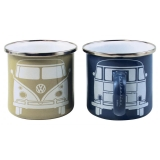 2er Set Becher VW Bus T1 emailliert blau / grau (-032)