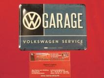 VW Garage Volkswagen Service Blechpostkarte Blechschild Vintage