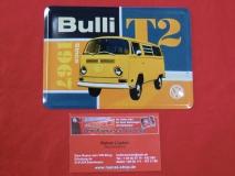 Bulli T2 Blechpostkarte Blechschild Postkarte Schild Vintage