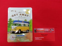 Get Away VW Bus T1 Blechpostkarte Blechschild Postkarte Schild