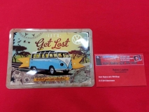 Lets Get Lost VW Bus T1 Blechpostkarte Blechschild Postkarte (62-040)