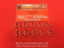 10 Klammern Türzierrahmen für VW Käfer, Bus T2, Typ3 (0409-7)