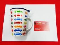 Tasse / Becher Keramik Motiv VW Käfer bunt (-014)