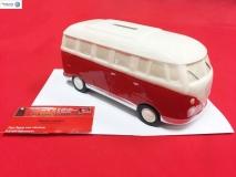 Spardose VW Bulli T1 rot weiß aus Porzellan (-043)
