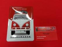 Gute Reise VW Bus T1 Blechpostkarte Blechschild Postkarte
