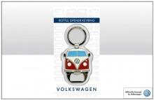 Flaschenöffner / Schlüsselanhänger Motiv VW Bus T1 rot (-063)