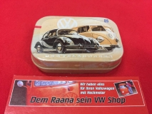 Pillendose / Blechdose m. Pfefferminzdragees VW Käfer Beetle und Bulli (62-064)