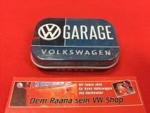 Pillendose / Blechdose m. Pfefferminzdragees VW Garage Volkswagen