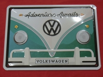 Adventure Awaits VW Bulli T1 Blechschild 15x20 cm (62-076)