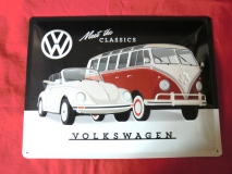 Blechschild Schild VW Käfer T1 Meet the classics (62-079)