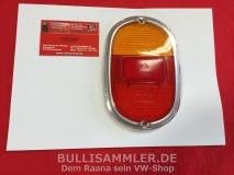 VW Bus T1, T2a Rücklichtglas rot/orange Chrom HELLA (0645)