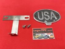 Vintage Look USA-Schild aus Aluminium mit Halter Retro u.a. VW Käfer (01-075)
