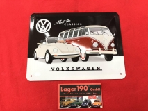 Meet the classics VW Bus T1 + Käfer Blechschild 15x20cm (62-101)