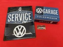 Blechdose VW Garage + Blechschild VW Service