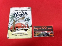 life ist better at the Beach VW Bus T1 Blechpostkarte Blechschild